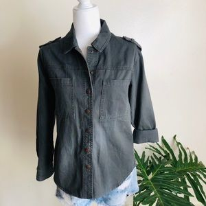 NWT Forever 21 M Gray military utility coat jacket